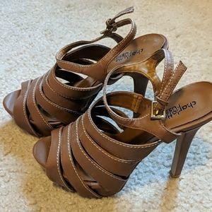 Honey/tan platform strappy sandals - size 7.5